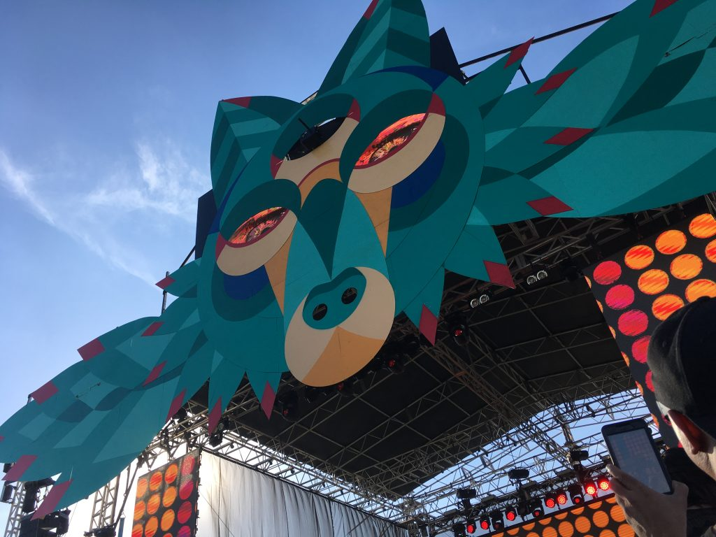A close up of the Elements Stage during the daytime at Euphoria Music Festival.