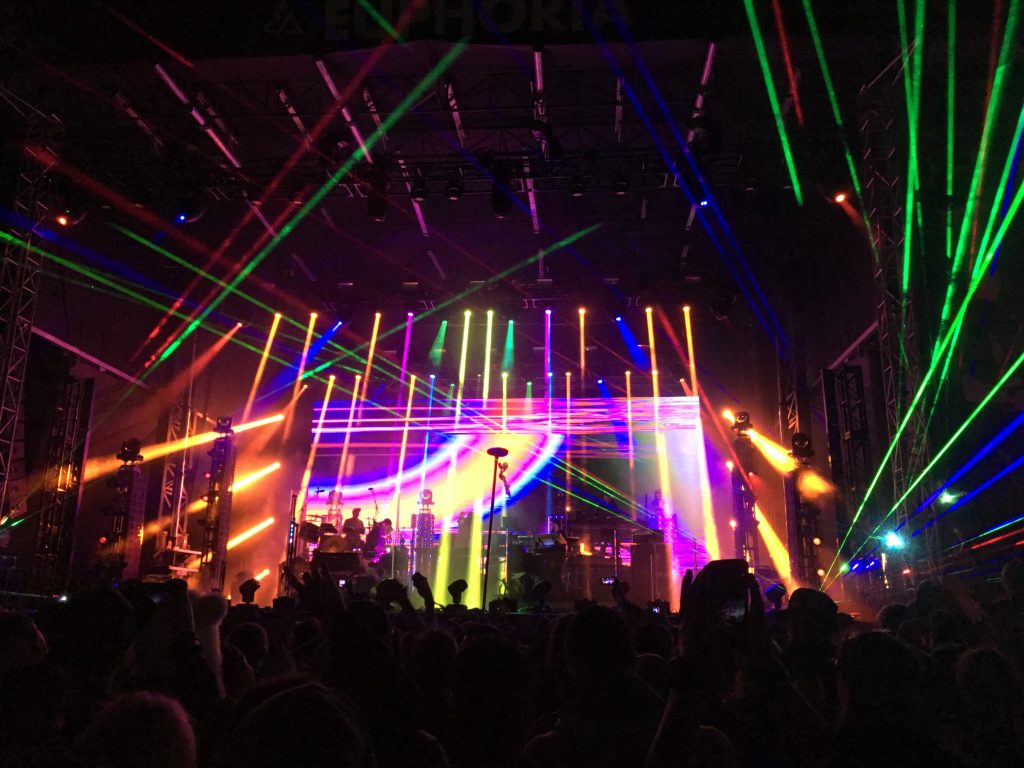 A view of the Main Stage at night while Pretty Lights and his live band are performing.