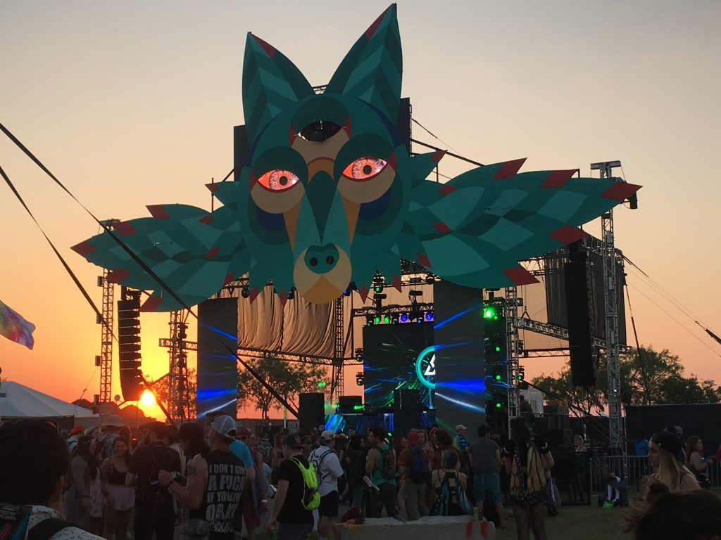 A view of the Elements Stage as the sun sets at Euphoria Music Festival.