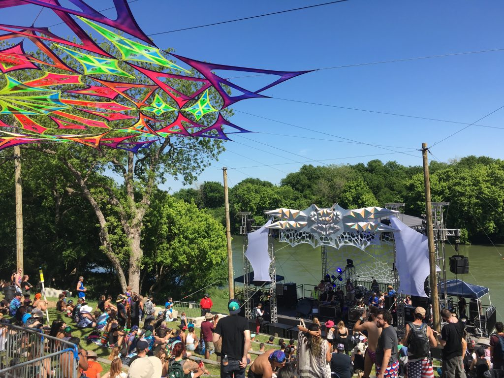 Euphoria Music Festival's stage located on the Colorado River called the Dragonfly Stage.