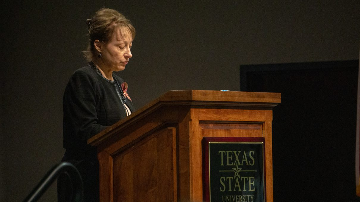"Texas State President Denise Trauth gave a speech to begin the naming portion of the event: ""They are all a part of our Bobcat family.""Photo by Sawyer Click"