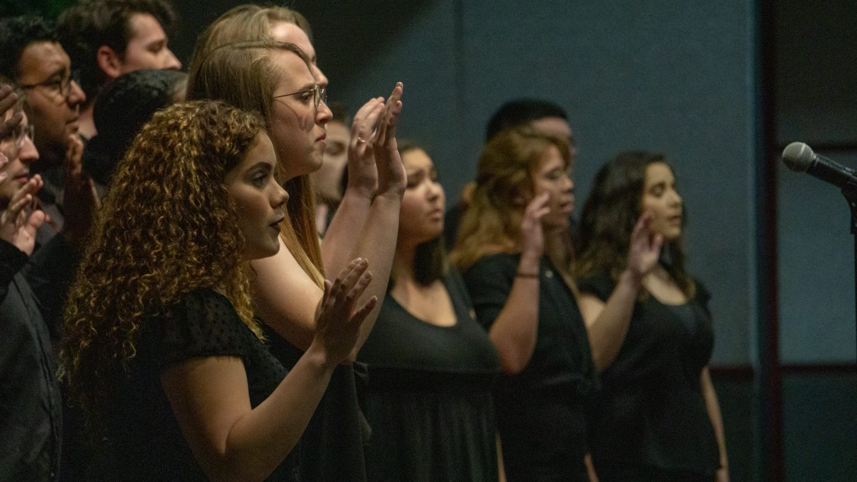 VocaLibre, an acapella music group from the School of Music, performed twice during the event: the first offering a song of strength and remembrance and the second to end the service with the Texas State Alma Mater.Photo by Sawyer Click