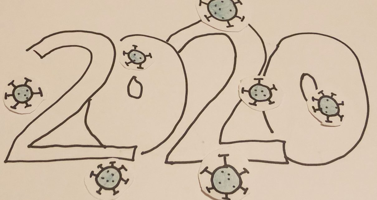drawing of the year 2020, covered in small cut outs of coronavirus