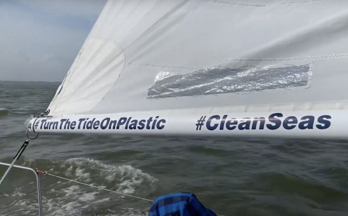 Turn the tide on plastic logo on a sail