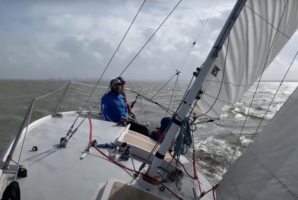 Racing sailboat underway at sea